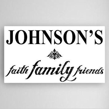 "14""x24"" Faith Family Friends Canvas Sign"