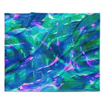 "Ebi Emporium ""Motley Flow 5"" Blue Teal Fleece Throw Blanket"