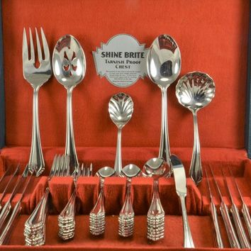 Flatware Silverware Set Stainless Steel Avalon Pattern by International Silver 54 Pieces Service 8  + Serving , Like New 1986 -1990