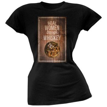 CUPUPWL St. Patricks Day - Real Women Drink Whiskey Black Soft Juniors T-Shirt