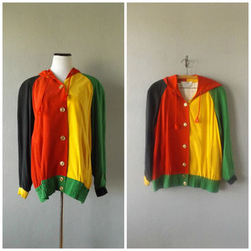 Color Block 90s Bomber Jacket Vintage Hip Hop Cross Colors Inspired Coat Womens Medium Silk Hoodie 1990s African Rasta Color Hipster Jackets