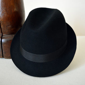 Black Wool Felt Trilby - Narrow Brim Pure Merino Wool Felt Handmade Trilby Fedora Hat - Men Women
