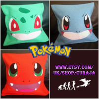 Pokemon Starter - Bulbasaur, Squirtle, Charmander Cushion Covers - 3 Piece Set