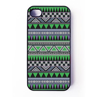 Iphone 4 Case / Iphone 4s Case - Green Aztec Pattern iPhone cover - plastic or rubber - tribal, native