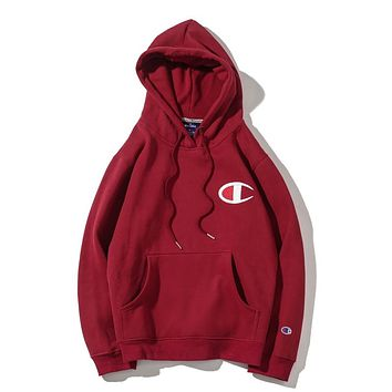 Champion autumn and winter tide brand men's and women's loose hooded plus velvet sweater Red