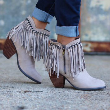 Not Rated: Ayita Fringe Booties {Light Taupe}