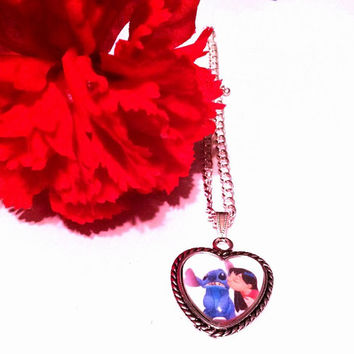 Lilo And Stitch Heart Pendant Necklace