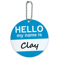 Clay Hello My Name Is Round ID Card Luggage Tag
