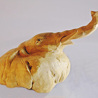 Tree Root Elephant, Tree Root Wolly Mammoth, Carved Wood
