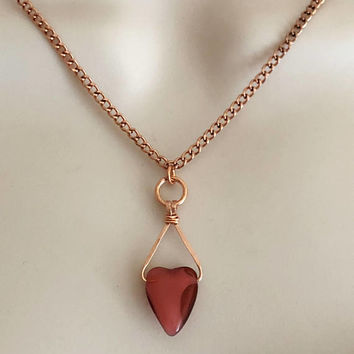 Heart Necklace, Copper Heart Necklace, Red Heart Necklace, Valentines Day Necklace, Gift for her, Valentines Gift, Women's Necklace