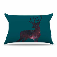 "Alias ""Deer In The Starlight"" Teal Pink Pillow Case"