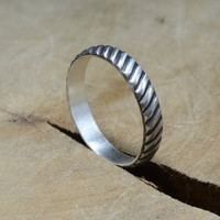 Steampunk Sterling Silver Gear Ring for Couples Weddings or a Modern Industrial Statement