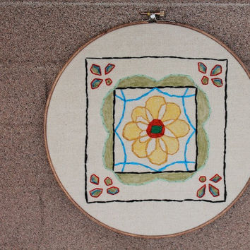Bright Colorful Decor Embroidery Hoop Art- 10 inch hoop art with oil pastels- Mexican Talavera - Hand stitched - original design - rustic