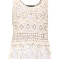 Pilot Sleeveless Fringe Crochet Top in Cream