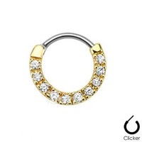 Gold Ten Paved Gem Single Line 316l Surgical Steel Septum Clicker (Sold Individually)gold