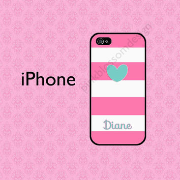 Stripe iPhone Case , Personalized iPhone 4 Case , iPhone 5 Case , Pink Stripe iPhone Case