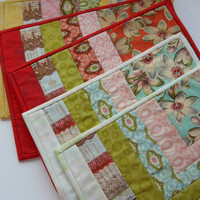 Handmade Patchwork Tablemats, Set of 6 . Table linen . Candle Holders, Mug Mats