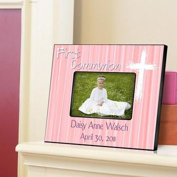First Communion Picture Frame - Light Pink