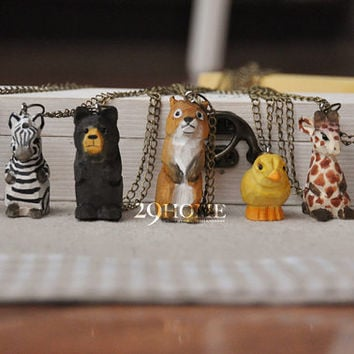 woodcut animal figurines necklace jewelry gift 7