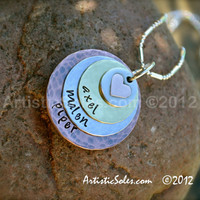 Mother's Metal Stamped Necklace - Circle