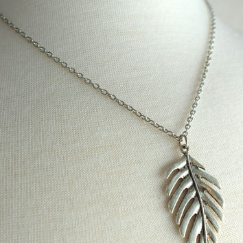 Antiqued Silver Leaf Necklace, Woodland Jewelry, Stainless Steel Necklace, Stainless Chain, Silver Necklace, Gift under 30