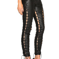 Unravel Lace Up Leather Pants in Black | FWRD