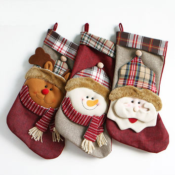 Christmas Fabric Stocking Sock Gifts Bags Tree Decoration Deer,Santa,Snowman Pattern Christmas (Size: 45CM) [9431837508]