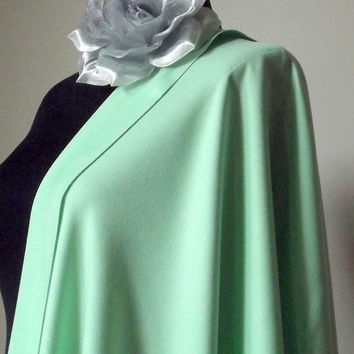 Aqua Green Shawl, Light Green Solid Color Pashmina,  Mint Wedding Shawl, Cashmere Silk Wrap, Bridal Pashmina, Bridesmaid Gift, Flower Brooch