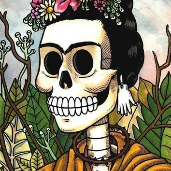 Frida Calavera with Flowers Print 5 x 7 by MisNopalesArt on Etsy