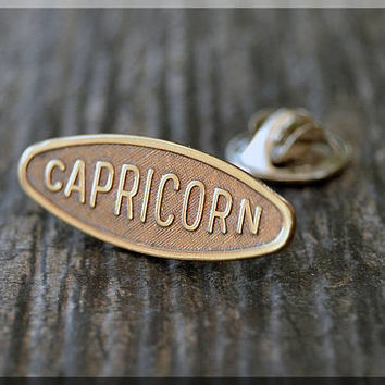Brass CAPRICORN Tie Tac, Lapel Pin, Zodiac Brooch, Gift for Him, Gift Under 10 Dollars, Astrology Sign Pin, Unisex Pin, CAPRICORN Pin