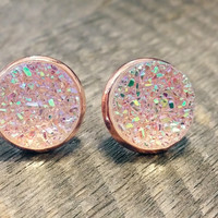 Druzy earrings-  Rainbow clear rose gold tone stud druzy earrings