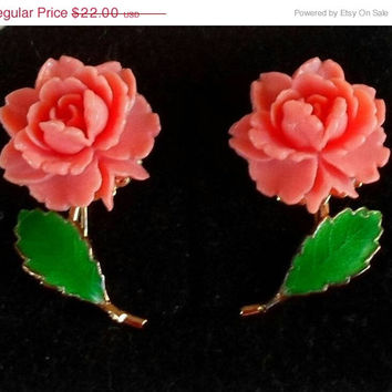 Vintage Celluloid Flower Earrings Pink Coral Spring Trend Clip On