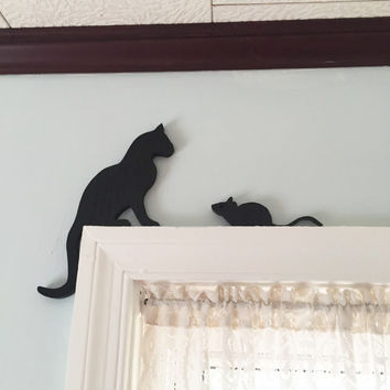 Wood Cat And Mouse Door or Window Topper / Black Cat and Mouse / Wooden Artwork / Unique Home Decoration