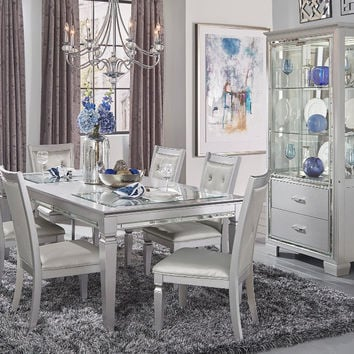 Home Elegance 1916-84 7 pc Allura silver finish wood dining table set with glass inserts