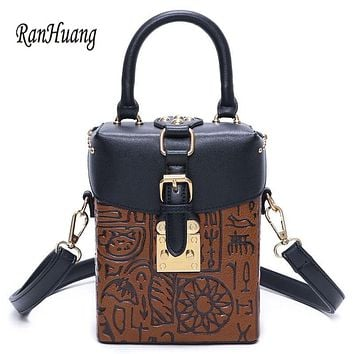 RanHuang New Arrive 2017 Hot Sale Women Oracle Print Vintage Handbags PU Leather Mini Shoulder Bags Women's Designer Handbags