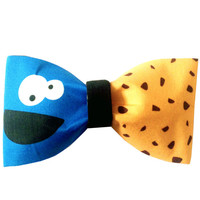 Cookie Monster Inspired Sesame Street Hair Bow or Bow Tie Geeky Fabric Bow