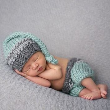 Newborn Baby Photography Prop Photo Crochet Outfits Knit Baby Pants and Hat 0-3 Months Newborn Fotografia Accessories