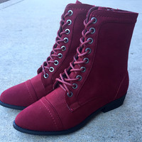 A Lucy Laced Boot in Wine