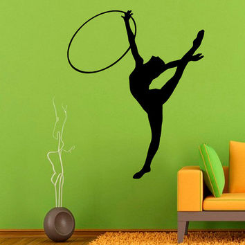 Sport Wall Decals Girl Gymnast With a Hoop Fitness Gym Interior Design Vinyl Decal Sticker Home Art Mural Kids Nursery Baby Room Decor KG196