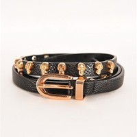 Skull Face Thin Belt - Black
