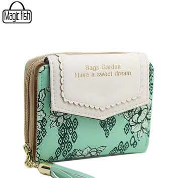 New High Quality Tassel Women Wallet Vintage Flower Printing Lady Classy Design For Female Wallet Lady Purses Coin Bags ls8736/l