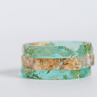 teal and gold size 6.5 thin multifaceted eco resin ring