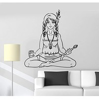Vinyl Wall Decal Hippie Teen Girl Artist Peace Love Stickers Mural Unique Gift (ig4974)