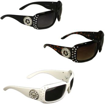 Womens Sunglasses with Lone Star Concho and Rhinestones