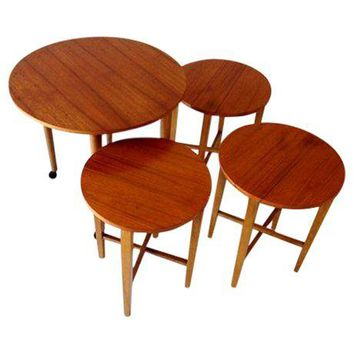 Pre-owned Mid-Century Round Folding Nesting Tables in Teak