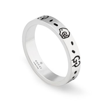 Gucci Ghost Thin Silver Band Ring