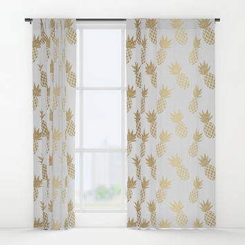 Gold Pineapple Pattern Window Curtains by Tanyadraws