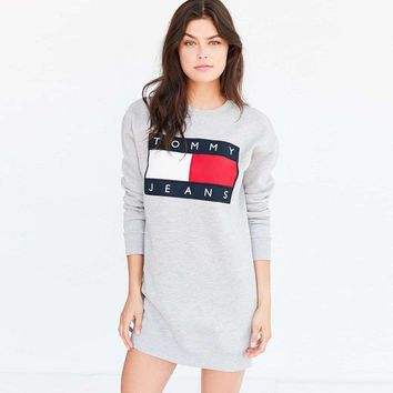 Tommy Hilfiger Women Fashion Long Sleeve Sweatshirt Mini Dress