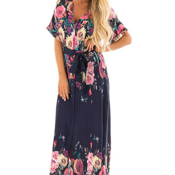 Navy Floral Print Short Sleeve Dress with Waist Tie