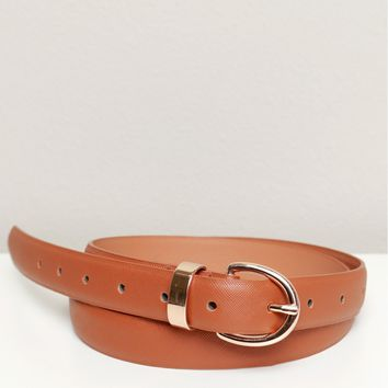 Leather Skinny Belt Camel